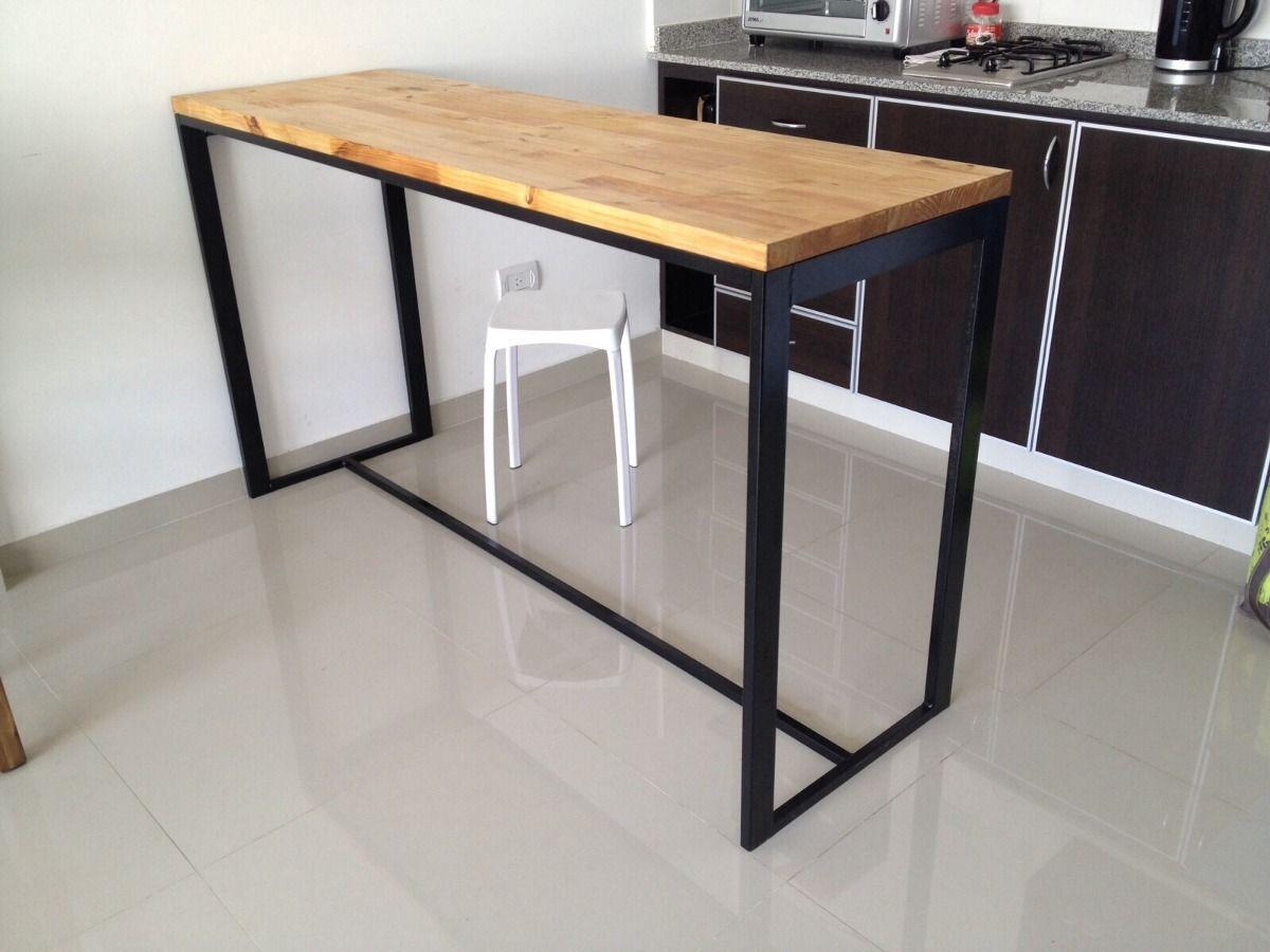 Mesa hierro y madera desayunador cocina mesas for Banquetas para barra de cocina