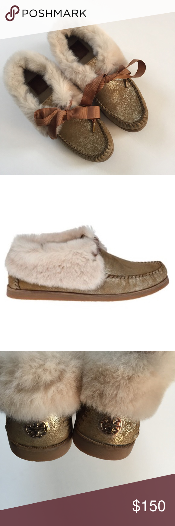 24a8388a2de Tory Burch Gold Natural Aberdeen Slipper New in box. Color is natural  brushed with metallic gold. Lined with rabbit fur at the top. Rubber soles.