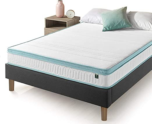 Zinus 8 Inch Mint Green Memory Foam Hybrid Spring Mattress King In 2020 Mattress Springs Modern Sofa Couch Solid Wood Bunk Beds