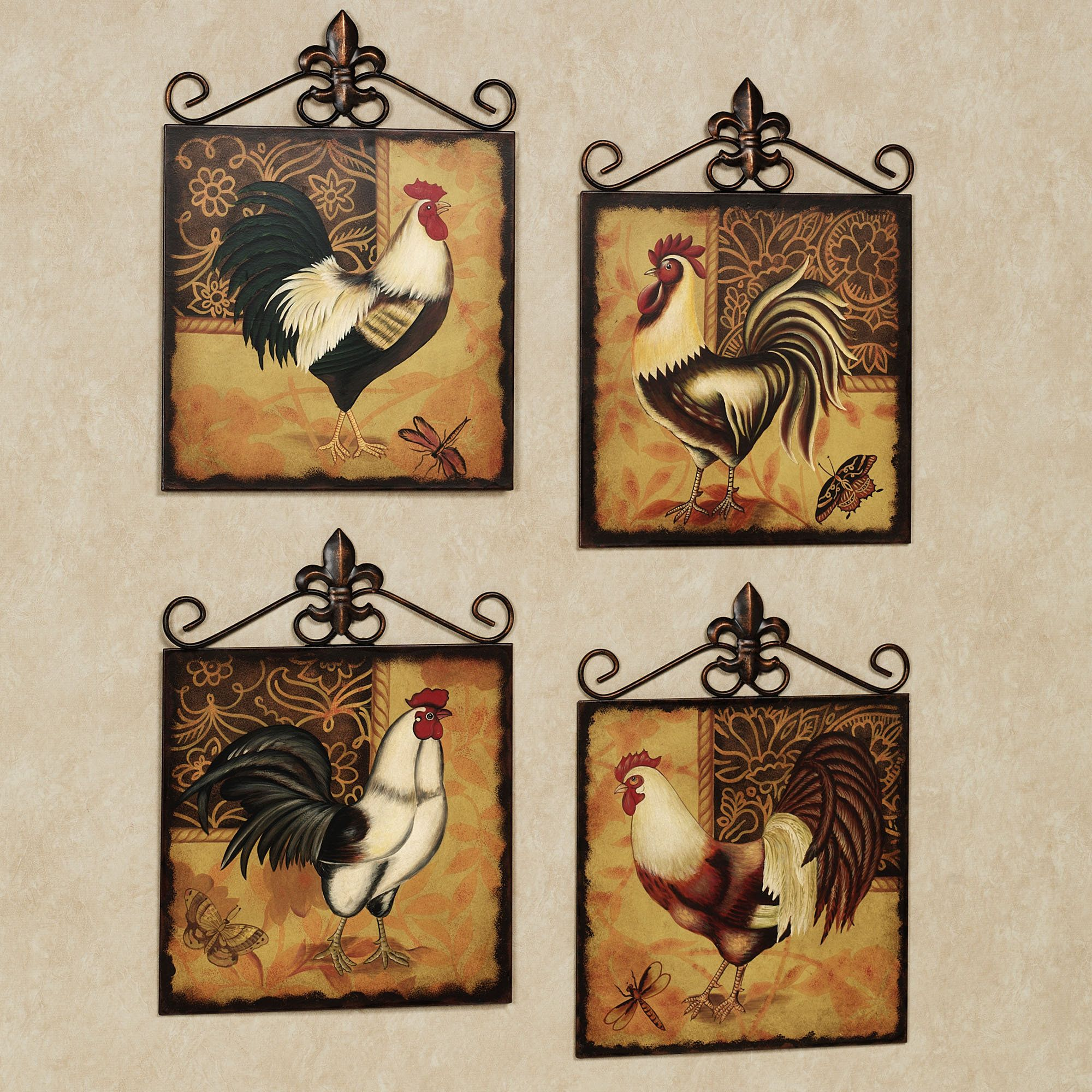 Metal Wall Plaques For Kitchen Rooster And Chicken Decorations For Kitchen .maison Rooster