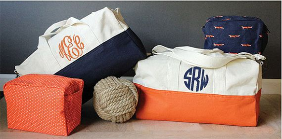 8ee73afe37f3 Navy and White Canvas Personalized Canvas Duffle Bag - Monogrammed  Overnight Bag Bridesmaids Bridal