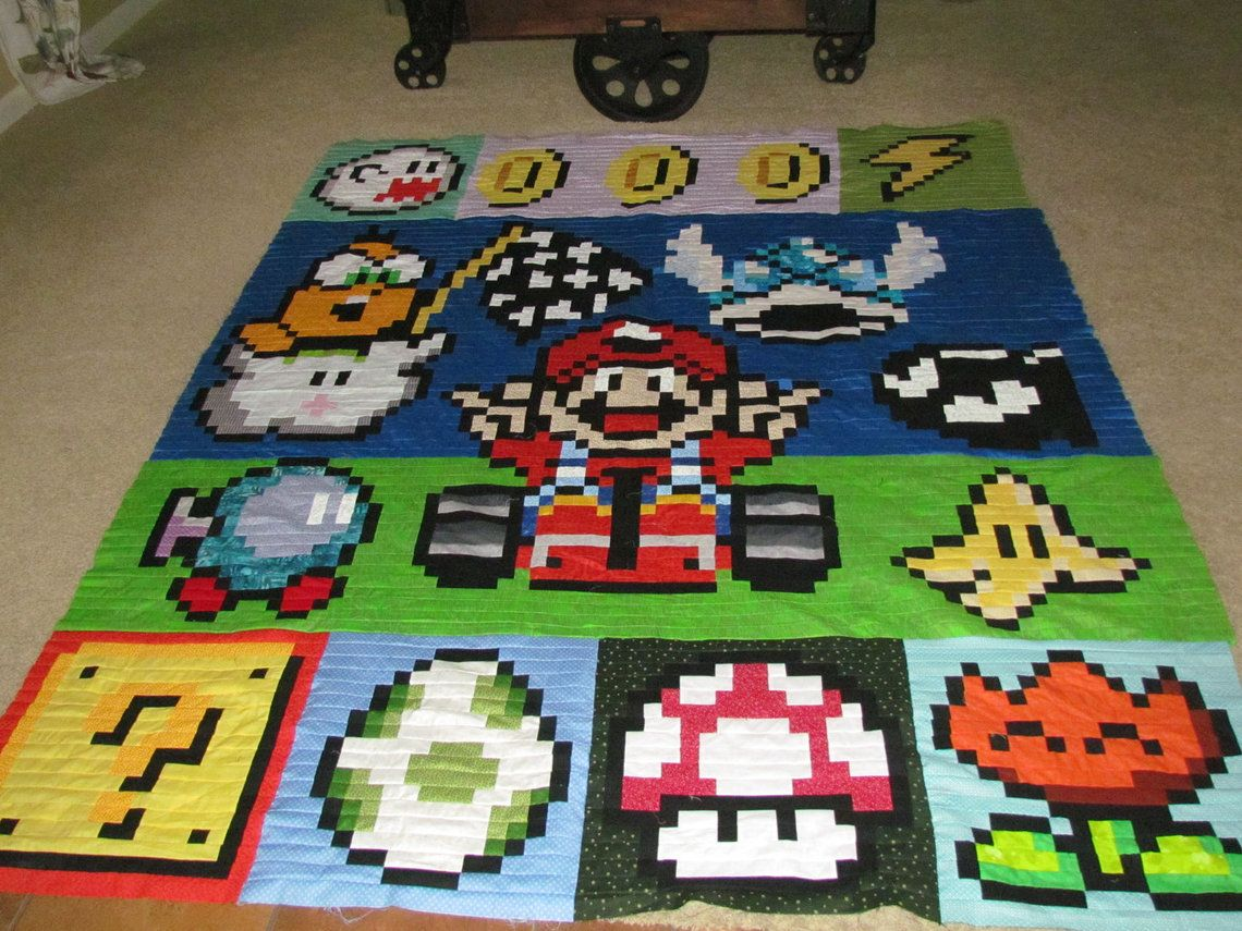 Super Mario Kart Quilt With Lakitu Bo Omb Winged Koopa Shell Boo Ghost Ness Mushroom Video