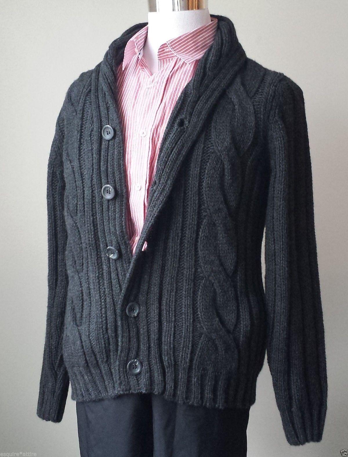 Filippo Novelli men size M cardigan sweater wool blend charcoal ...