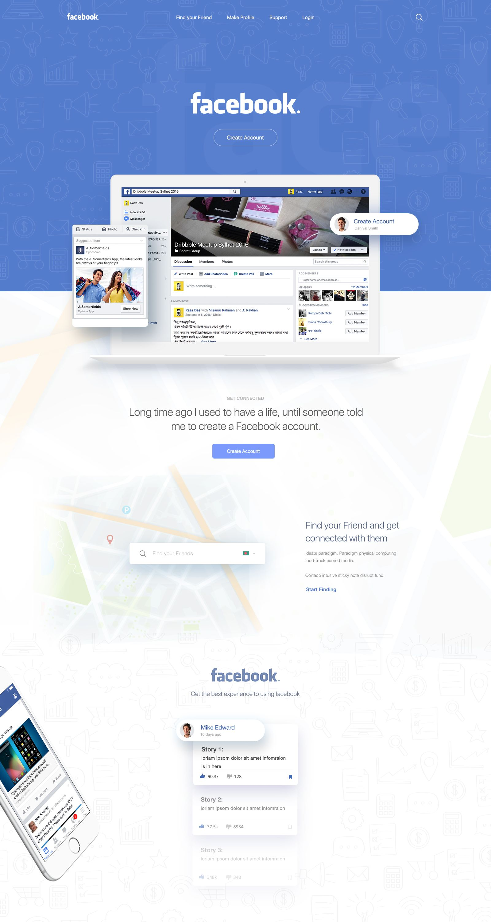 Facebook Find Your Friends Print Layout Layout Design