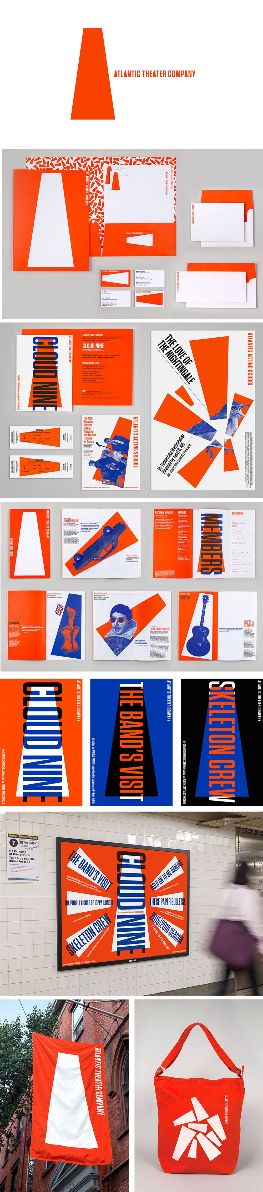 Pinned from https://pinterest.com/rothenhaeusler/best-of-corporate-design/ · Client: Atlantic Theater Company · Agency: Pentagram. Bold, energetic style through a limited colour scheme of fluro orange, blue and black. Use of flat shapes and imagery across all forms of identity, branding