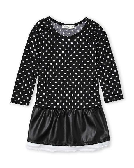 PINC PREMIUM (Toddler Girls) Polka Dot Faux Leather Dress