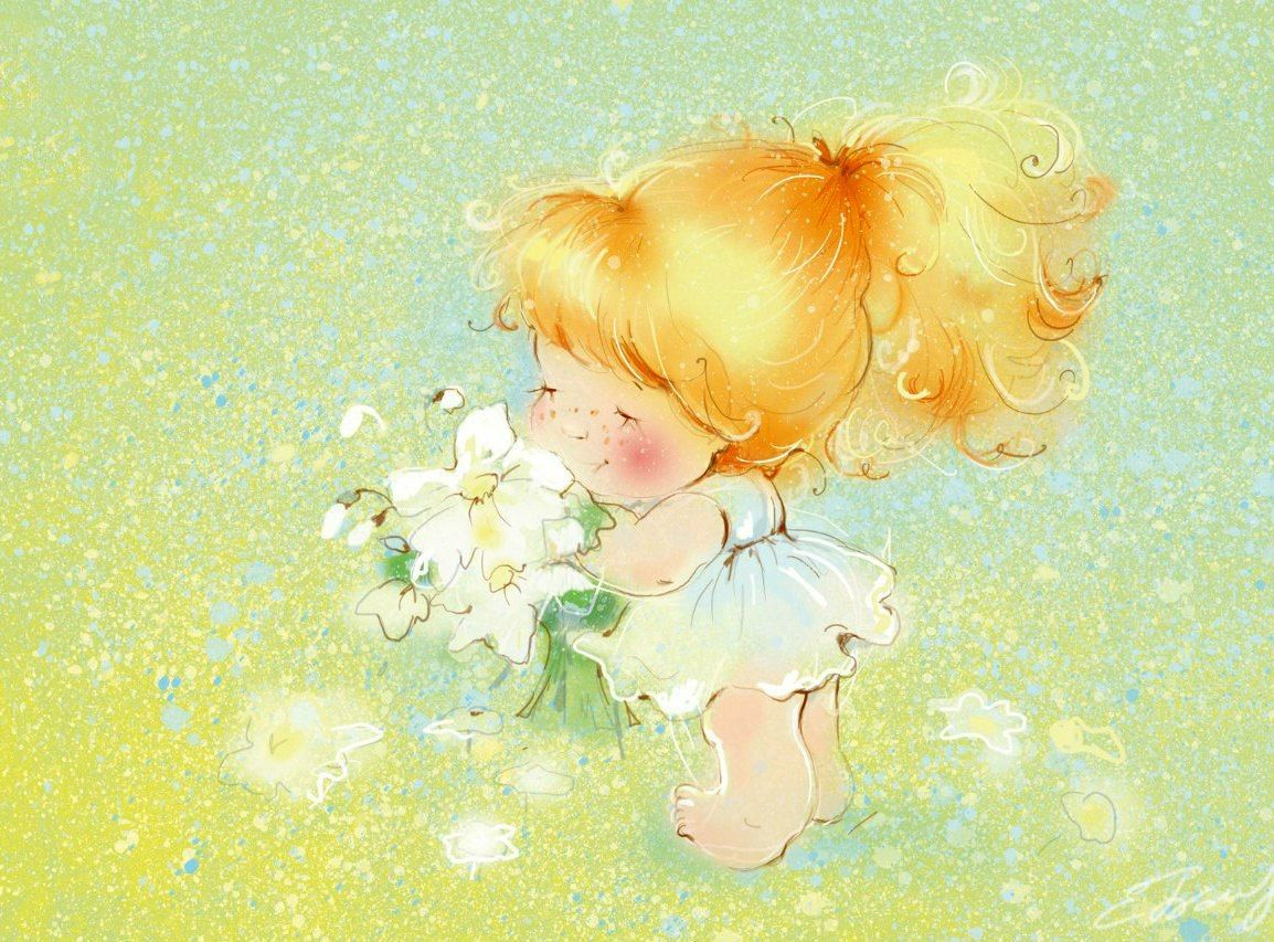 Открытка девочка и счастье, скатерть белая открытки