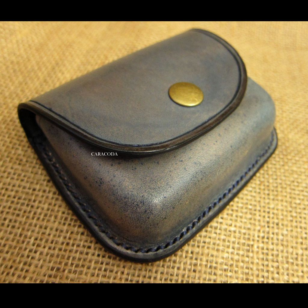 Leather coin purse wet moulded greyish blue