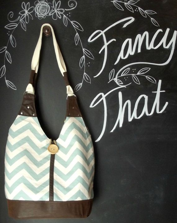 Tote Bag Blue Chevron Faux Leather Travel Bag by ShoppeFancyThat, $55.00