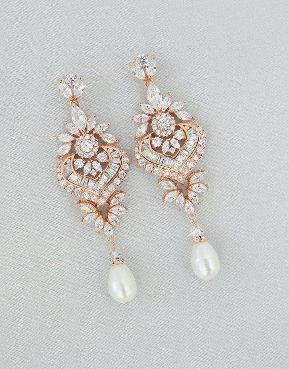 Rose Gold Bridal Earrings Crystal Wedding Earrings Bridal Etsy Rose Gold Bridal Earrings Crystal Earrings Wedding Gold Bridal Earrings