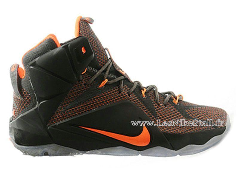 Officiel Nike Lebron 12/XII - Chaussures Nike Pas Cher Pour Homme Noir/Orange 684493-ID3