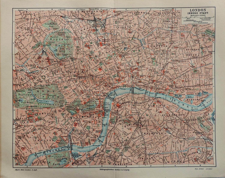 Mapa De Londres Año Medidas Cm X Cm ANTIQUE - Old map shop london