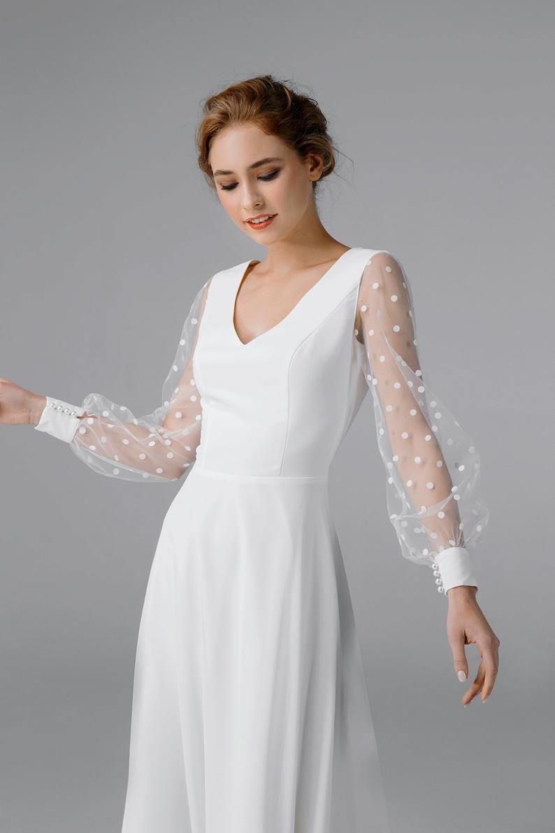 Vestido De Novia De Gasa Simple Vestido De Novia De Manga Etsy Long Sleeve Wedding Dress Simple Midi Wedding Dress Long Sleeve Satin Wedding Dress [ 1191 x 794 Pixel ]