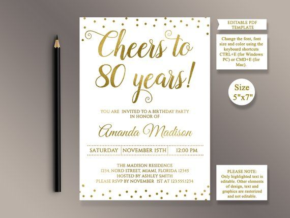 EDITABLE 80th Birthday Party Invitation Template Cheers To 80 Years Anniversary Go