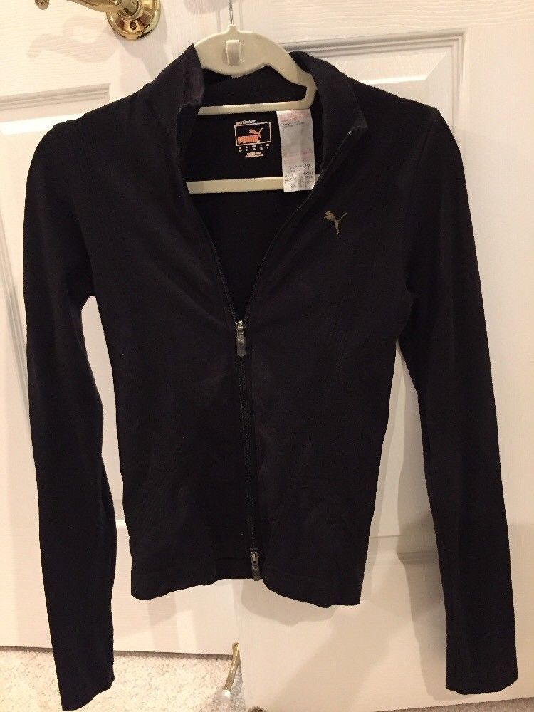 acb232173e51 Puma Black Fitted Active Track Jacket Slim Fit Women s Fitness Jacket Size  XS  fashion  clothing  shoes  accessories  womensclothing  activewear