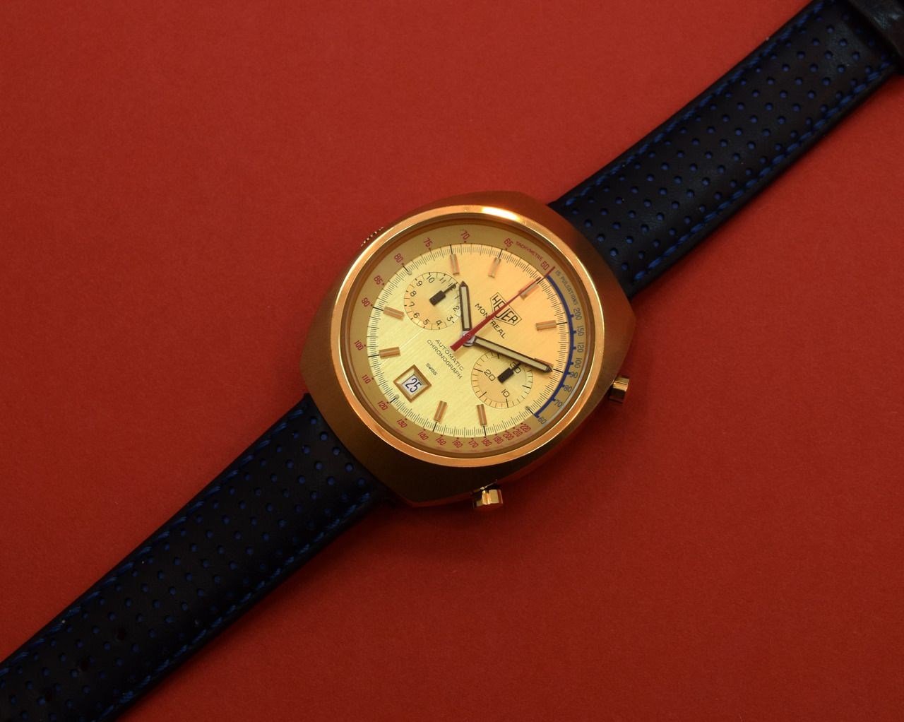 A 1973 yellow gold-plated vintage Heuer Montreal Chronograph Ref. 110505  with a date