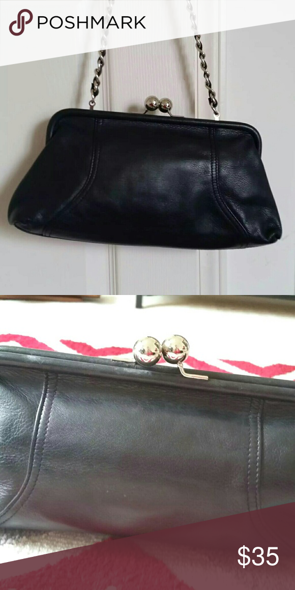 Vintage black leather framed clutch w  chain strap Vintage black leather  framed clutch with chain strap that can be hidden in purse. c397c15d73