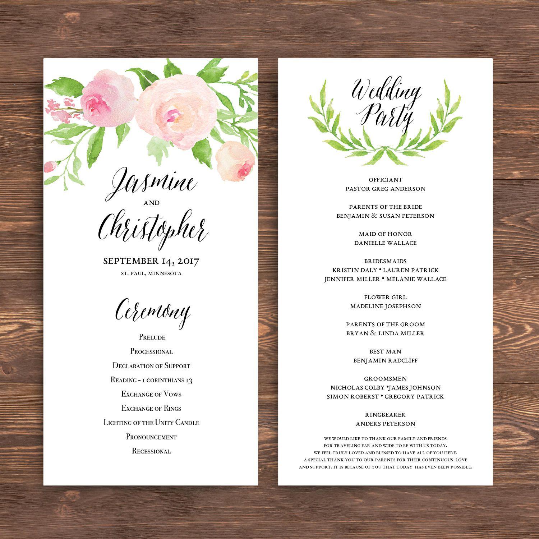 printable wedding program template floral ceremony program watercolor flower wreath flower blush