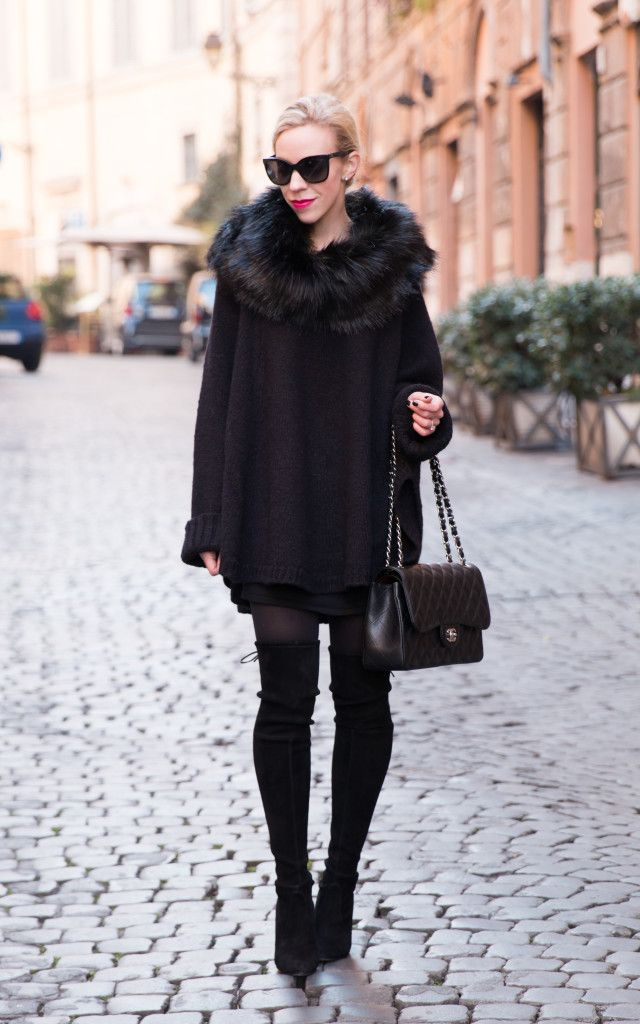 618452fc8cd2 Lady in Black: Michael Kors faux fur collar poncho, poncho worn over dress,  Stuart Weitzman 'Highland' over the knee boots, Chanel Jumbo classic flap  bag ...