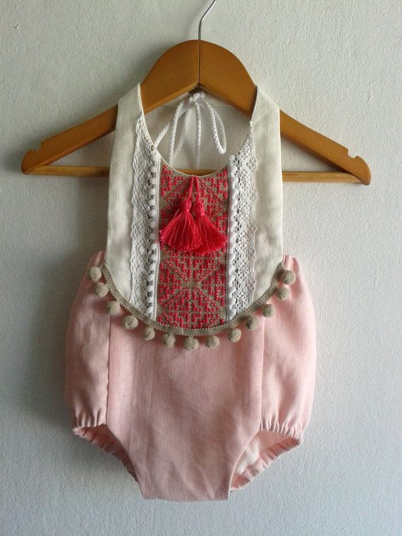 7e3d86e66 Pink/ Fuchsia Baby Girl Romper/ Linen Boho Chic by VivaBohoStyle ...