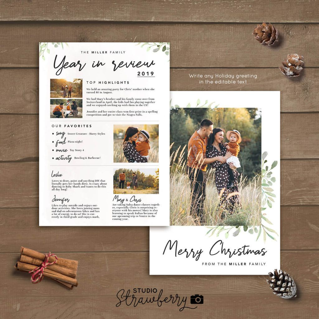 Year In Review Christmas Card Template Handwriting Leaves Christmas Card Template Christmas Cards Family Christmas Cards