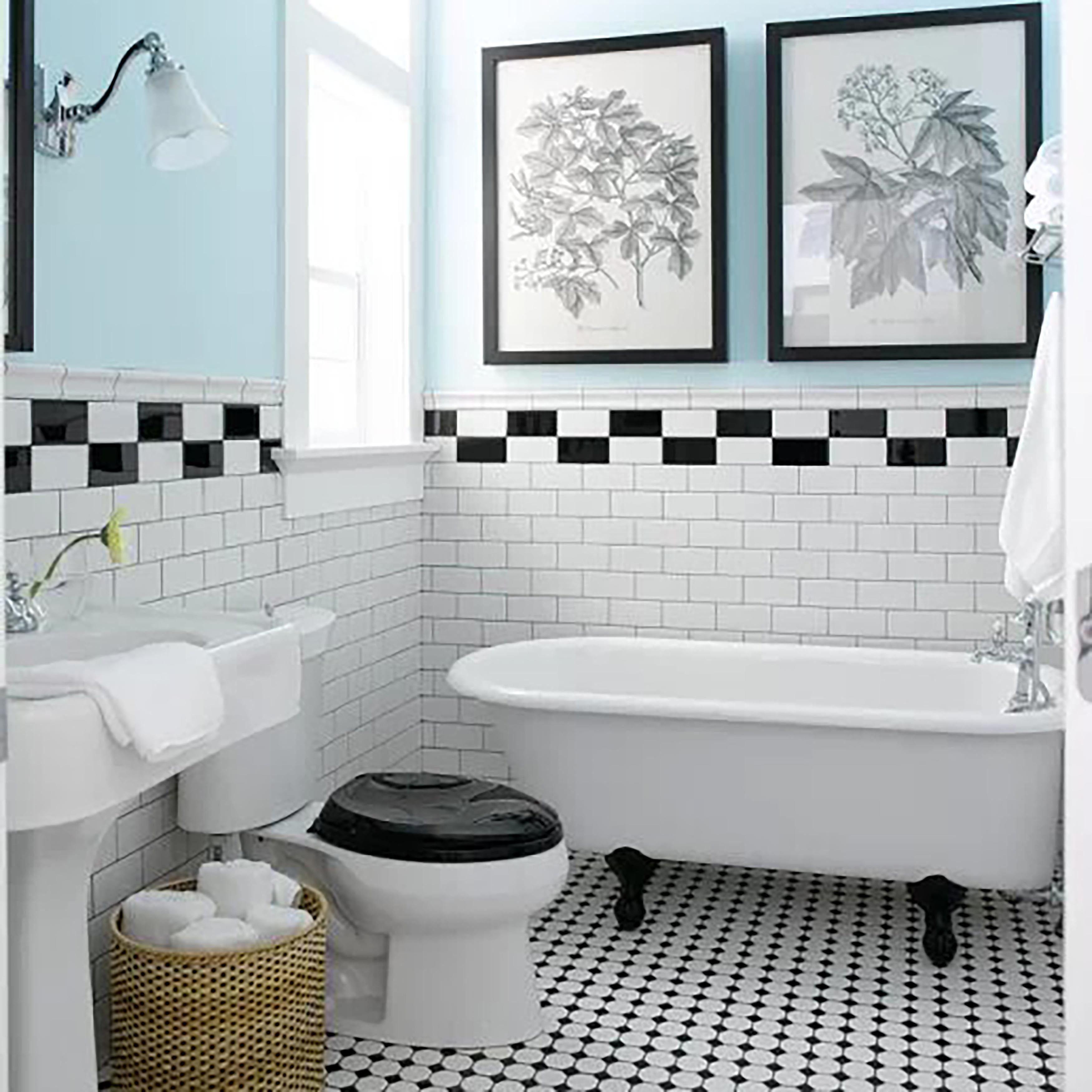 SomerTile 3x6-inch Malda Subway Glossy Black Ceramic Wall Tile (Case ...