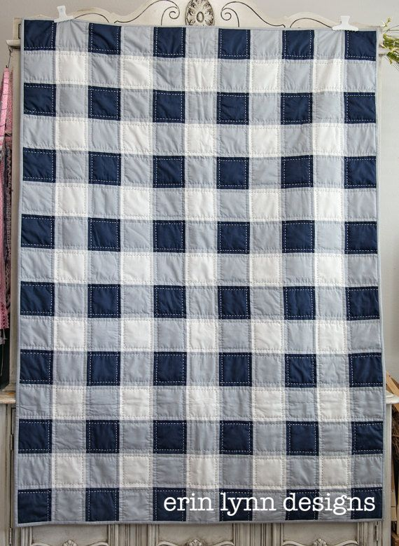 Plaid Baby Quilt: Navy Blue Gray And White Buffalo Check Plaid Patchwork