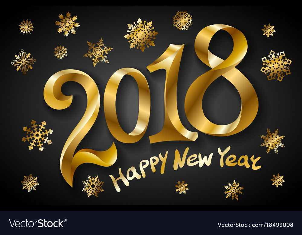 Happy New Year 2018 Greeting Card Design Template Vector Image On Vectorstock Happy New Year 2018 Greeting Card Design New Years Eve Pictures