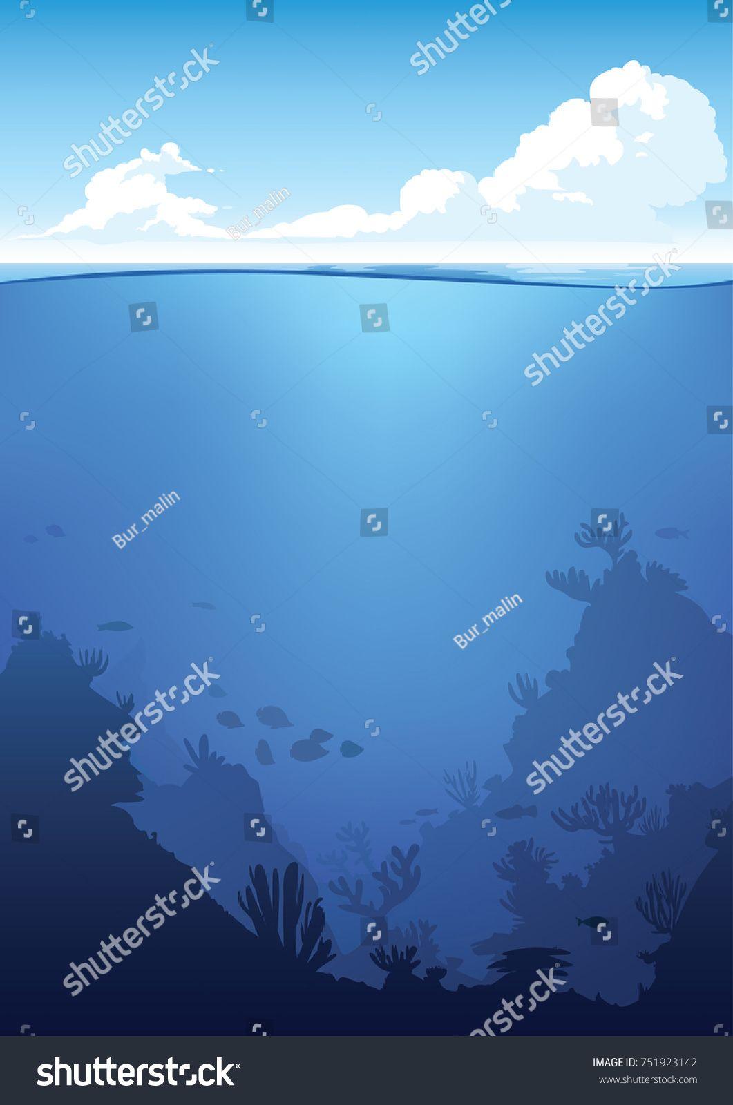Vector Underwater And Above Water Landscape Ocean Waterline Anime Clean Style Background Design Sponsored Sponsore Background Design Underwater Waterline