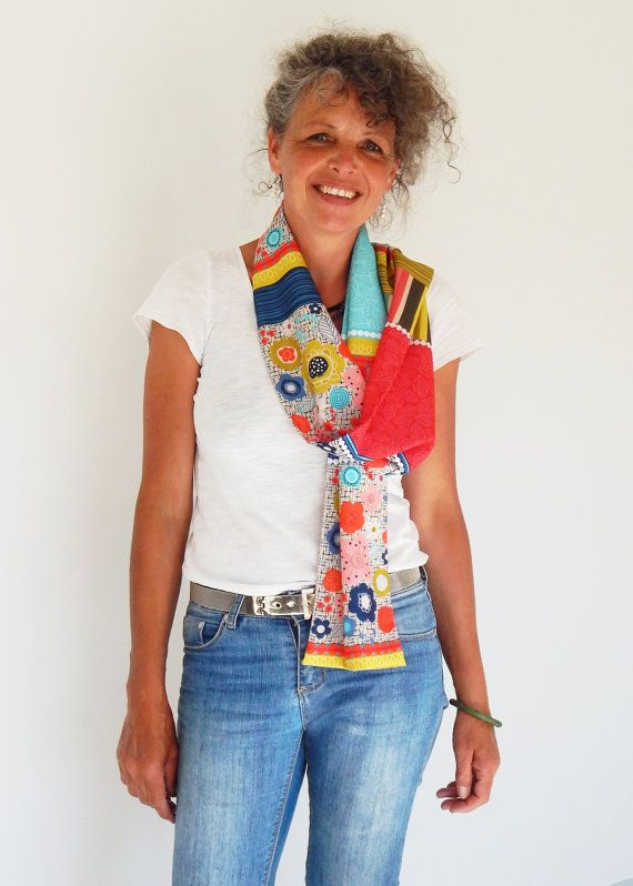 reds vibrant warm colours modern scarf by EllenGiggenbach on Etsy