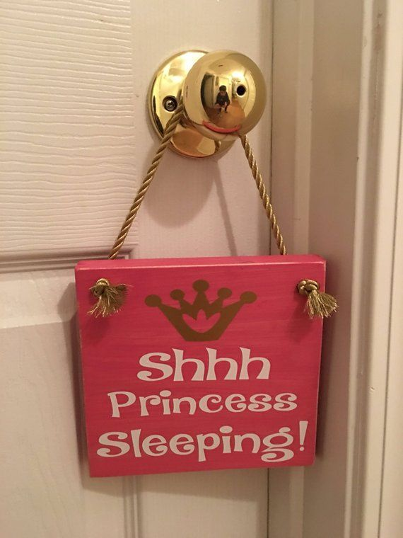 """Photo of Adorable Rustic Pink """"Shh Princess Sleeping"""" Wooden Door Sign for Little Girls Room / Nursery FREE SHIPPING"""