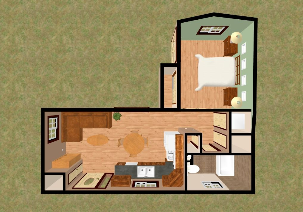 The 505 Sq Ft 3d Top View Of The Mt Kiska Small House