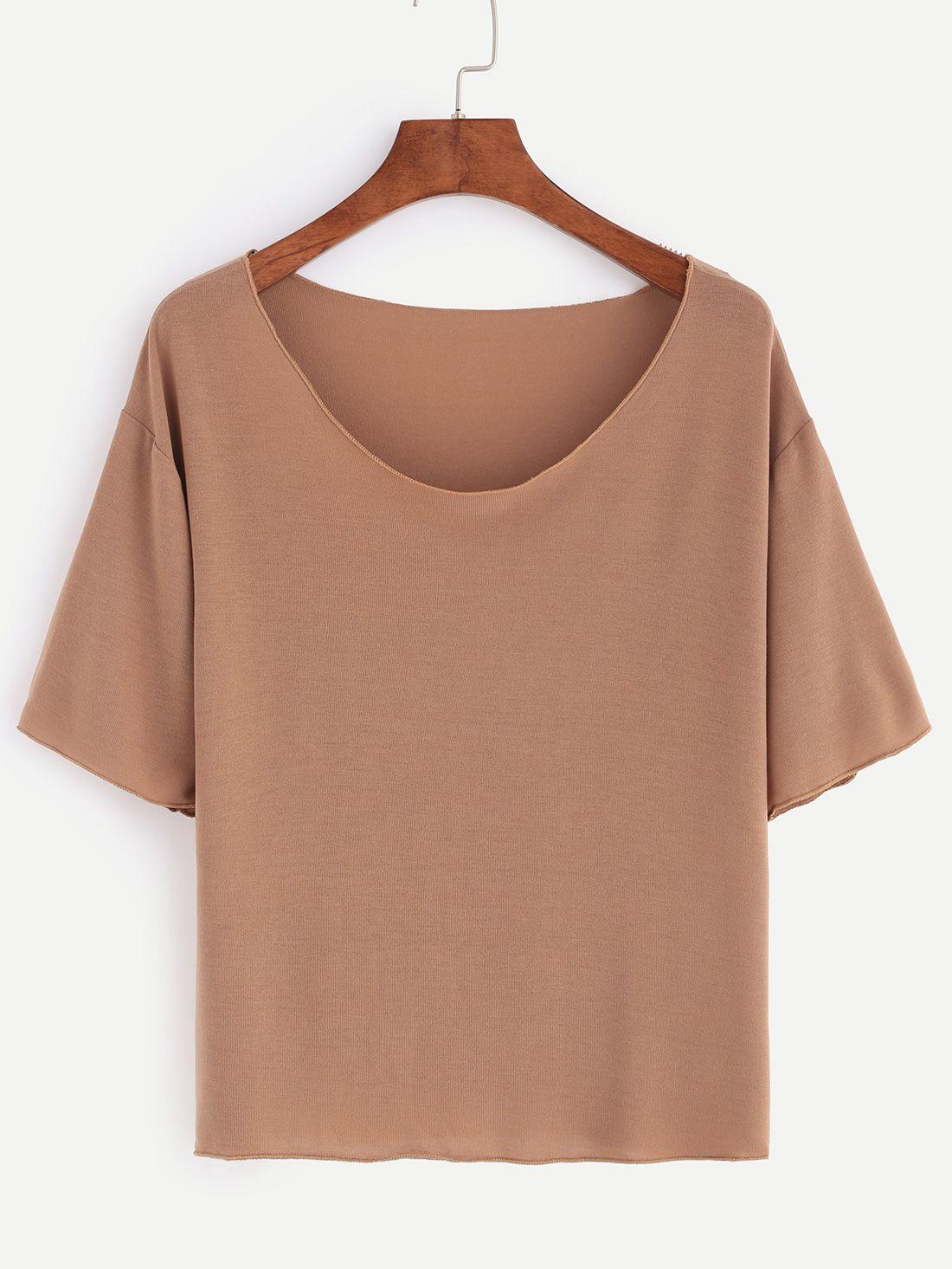 36eb6cfc21fb Light Brown Scoop Neck Plain T-shirt   My Style   Fashion, Scoop ...