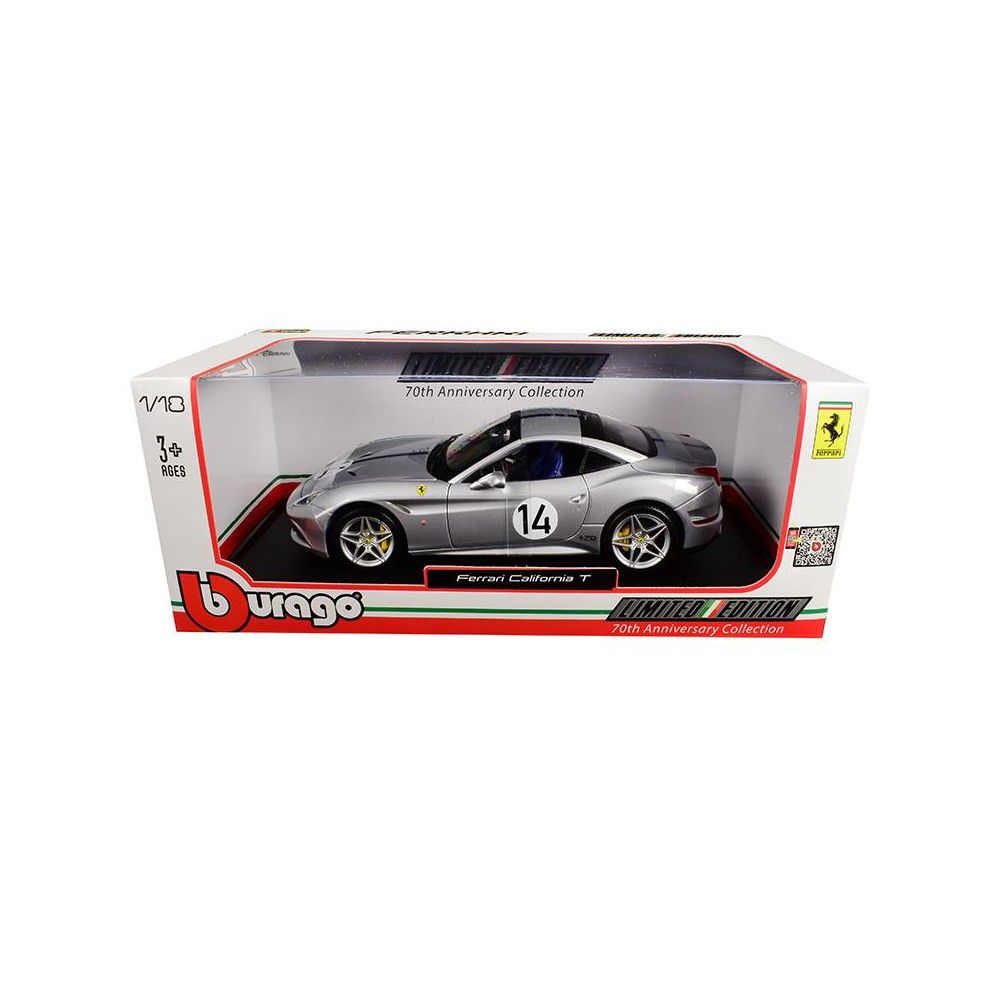 Brand new 1:18 scale diecast model of Ferrari California T Hot Rod Silver #14 70th Anniversary die cast model car by Bburago.Has steerable wheels.Brand new box.Rubber tires.Opening hood, trunk and doors.Made of diecast with some plastic parts.Detailed interior, exterior, engine compartment.Dimensions approximately L-10, W-4, H-3 inches.Please note that manufacturer may change packing box at any time. Product will stay exactly the same.