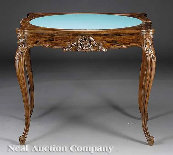 (135) 0943: American Rococo Carved Rosewood Games Table - Oct 07, 2007   Neal Auction Company in LA