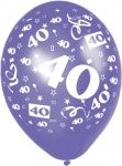 40th Birthday Balloons, packs of 6, Assorted Colours
