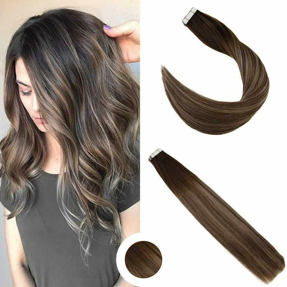 Ugeat 24 Tape On Ombre Brown Mixed Blonde 2 27 2 Human Hair