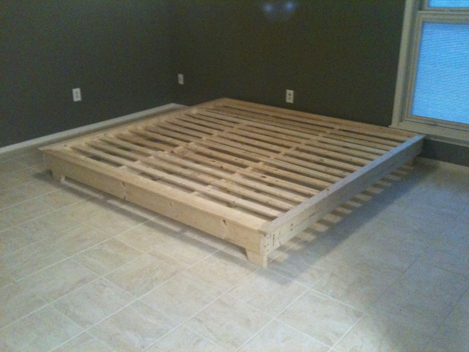 Interior Ideas. cream wooden diy platform bed frame king ...
