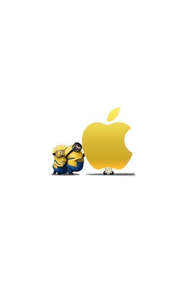 人気1位 アニメ ミニオン のiphone壁紙 アップルロゴ ミニオンのかわいいイラスト iphone壁紙