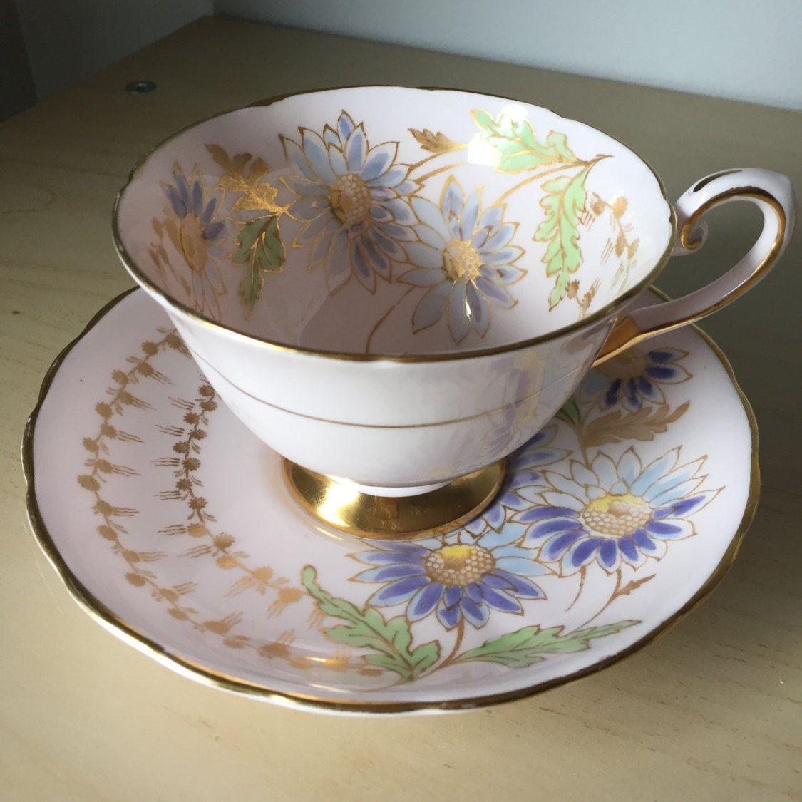 Tuscan Vintage Teacup And Saucer Light Pastel Pink Light Blue Daisy