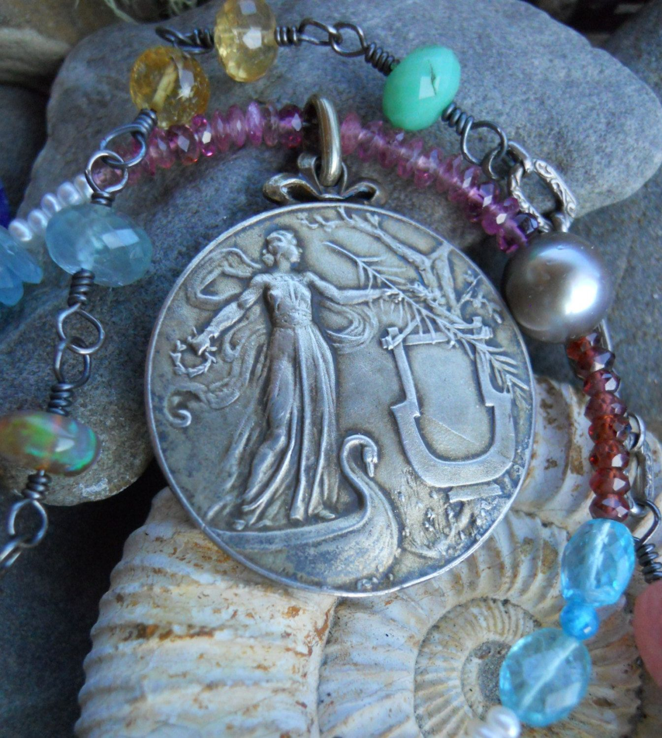 Swan Song Antique French Maiden Swan Medal Assemblage