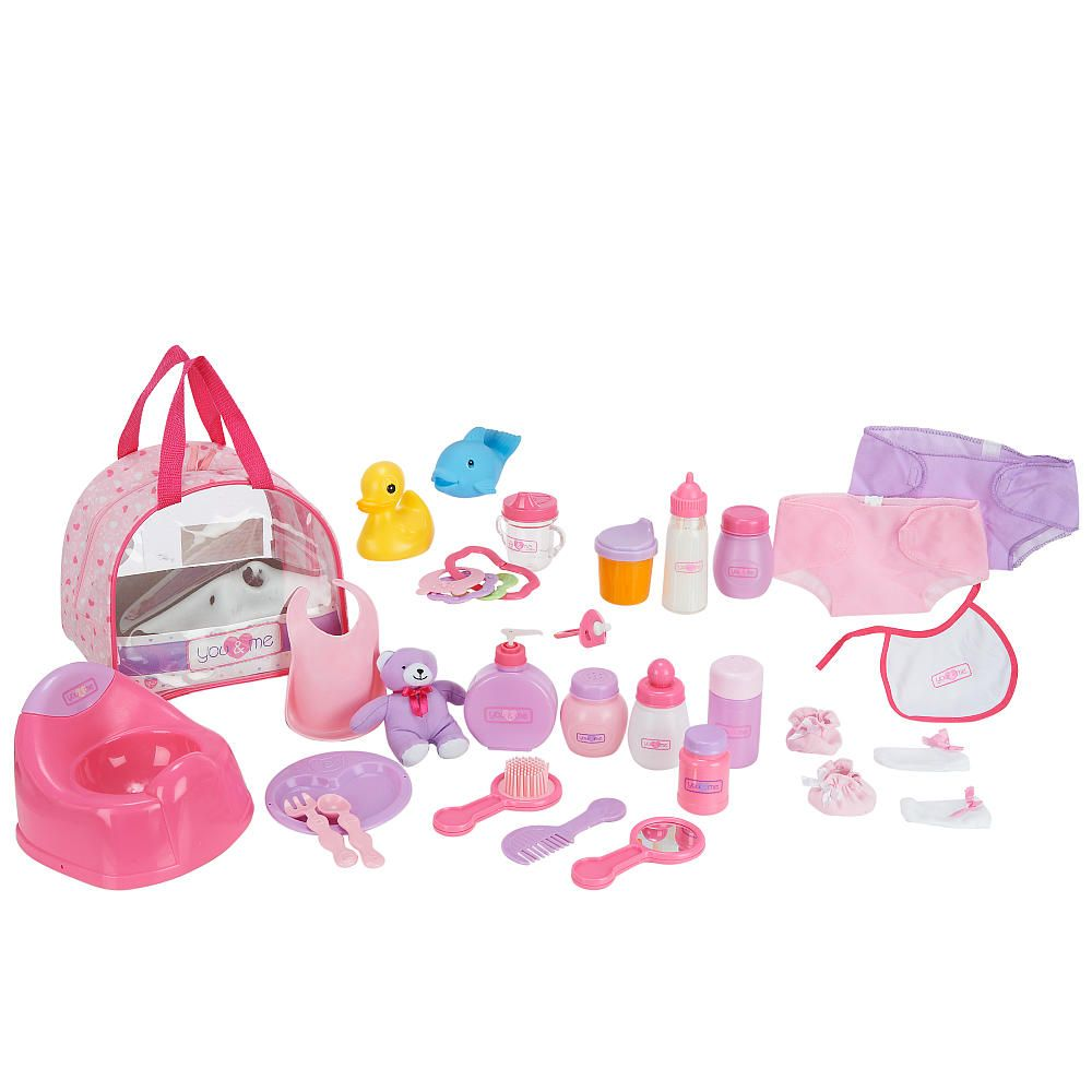 you me baby doll care accessories in bag toys r us toys r us olivia pinterest baby. Black Bedroom Furniture Sets. Home Design Ideas