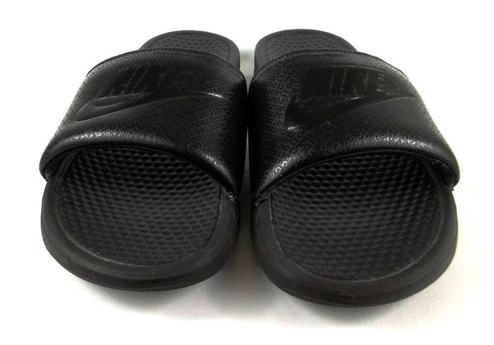 Nike Swoosh Black Logo Slides Shoes Sandals Mens SIZE 14