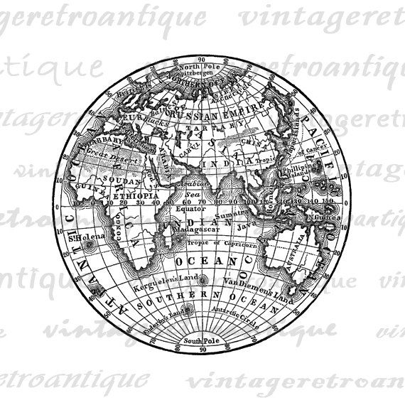 Digital Printable Antique Earth Globe Map By VintageRetroAntique - Printable globe map of the world