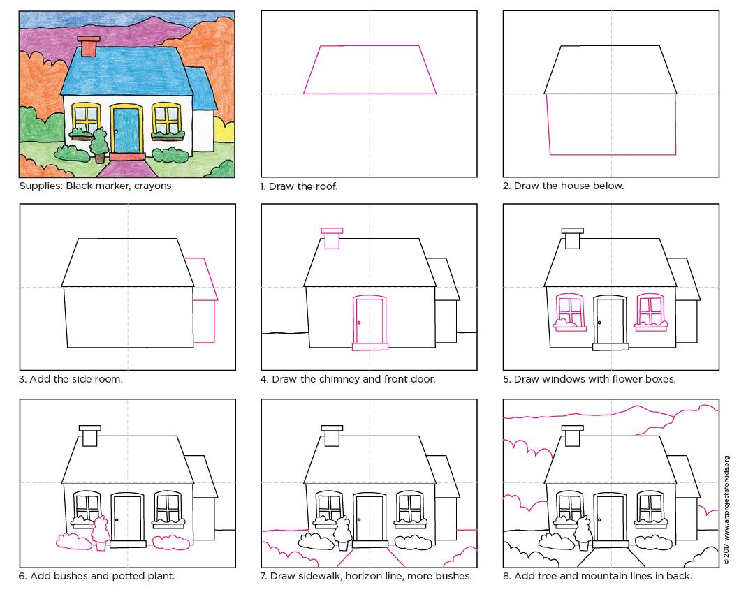 Draw a cottage in apfk drawings pinterest learning