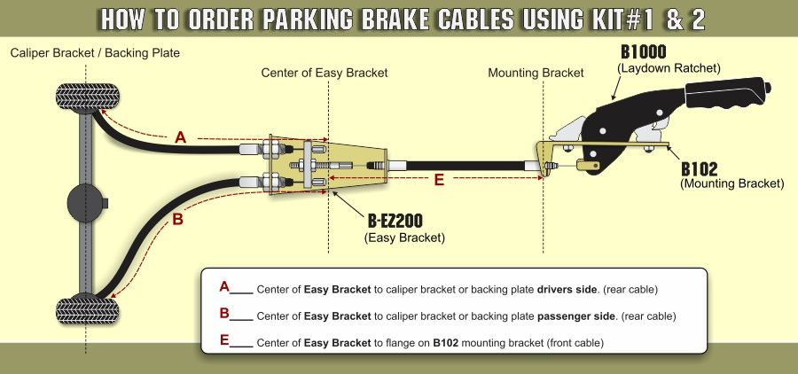 How to order custom parking brake cables using Kit 1 or 2