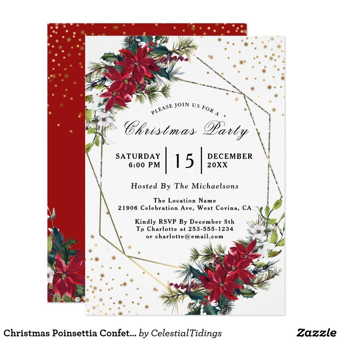 Christmas Poinsettia Confetti Party Invitation in 2018   Corporate ...