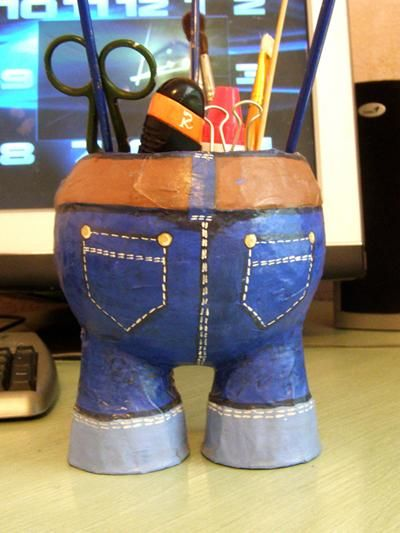Kids Craft Ideas A Pants Glass For Stationery Papier Mache