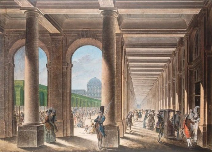 The Gardens and Galeries of the Palais Royal.The redesigned palace complex became one of the most important marketplaces in Paris. It was frequented by the aristocracy, the middle classes, and the lower orders. It had a reputation as being a site of sophisticated conversation (revolving around the salons, cafés, and bookshops)], shameless debauchery (it was a favorite haunt of local prostitutes), as well as a hotbed of Freemasonic activity.