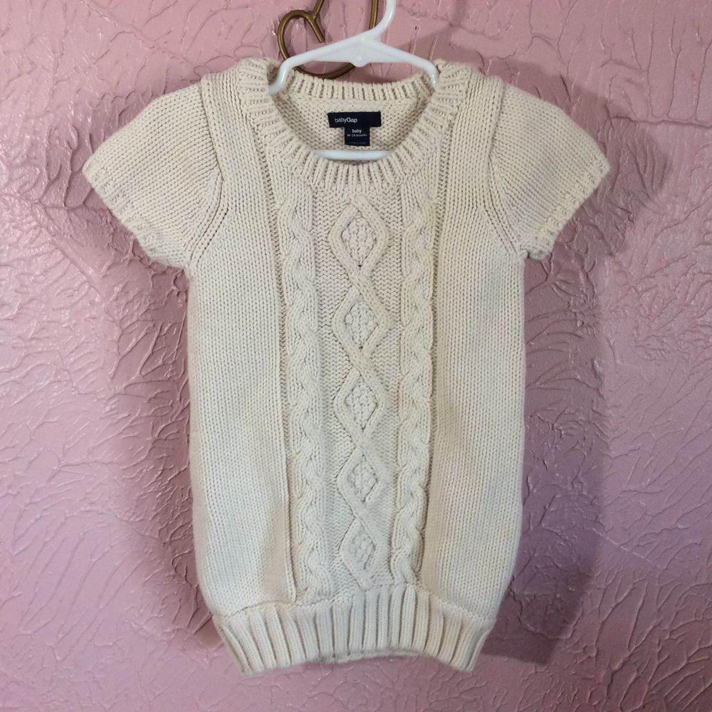 e2a1f54846c0 Baby Gap Sweater Dress Toddler Girls Size 18-24m Off White Short ...